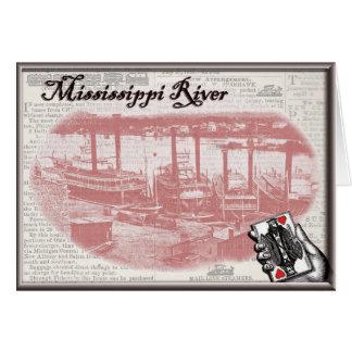 Steamboat Gambling Greeting Card