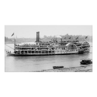 Steamboat 'Island Queen' 1906 BW Poster