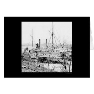 Steamer New York at Aiken's Landing 1865 Card