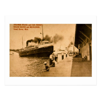 Steamer Nyack and Car Ferries, Grand Haven, MI Postcard