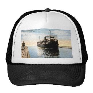 Steamer Puritan in Channel, Macatawa, Michigan Mesh Hat