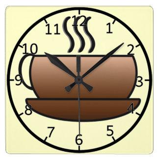 Steaming Coffee Mug Square Wall Clock