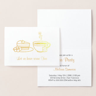 Steaming Cup and Cake Tea Party Invitation