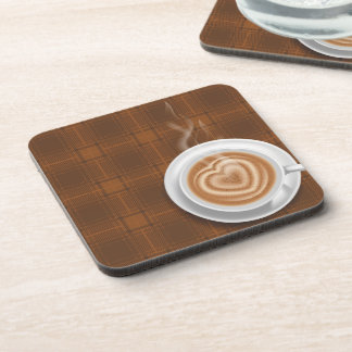 Steaming Hot Coffee on Brown Plaid Coaster