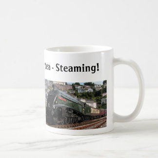 Steaming hot tea coffee mug