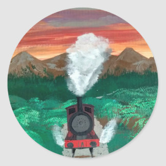 Steaming in the Sunset Classic Round Sticker