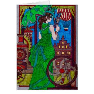 Steampunk 6 Bright Green Dress Card