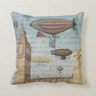 Steampunk Airships in the Sky over London, England Throw Pillow