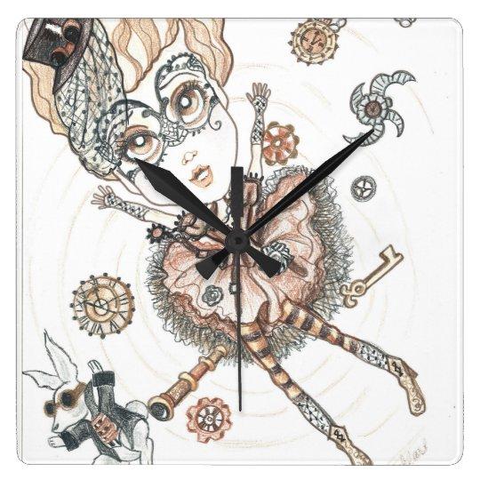 Steampunk Alice and The White Rabbit Square Clock