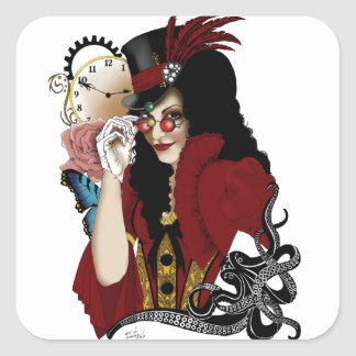 Steampunk all in Red Square Sticker