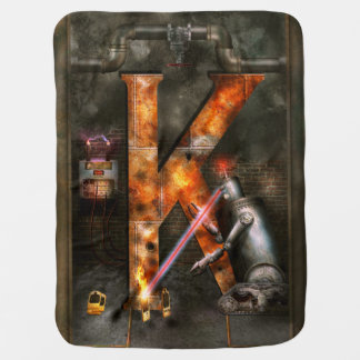 Steampunk - Alphabet - K is for Killer Robots Baby Blanket