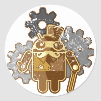 Steampunk android used look classic round sticker