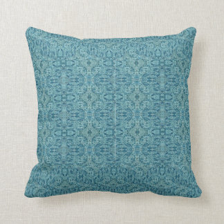 Steampunk Aqua Faux Flocked Pillows