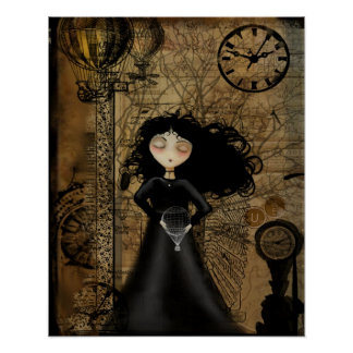 Steampunk Art Poster - No Fear of Flying
