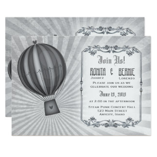 Steampunk aviator wedding template card
