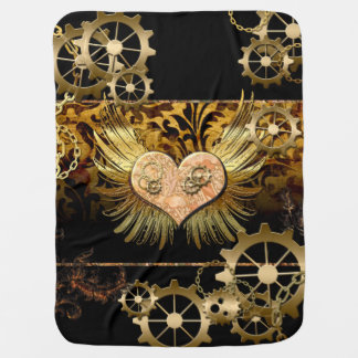 Steampunk, awesome heart baby blanket