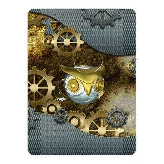 Steampunk, awesome   mechanical owl card