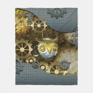 Steampunk, awesome   mechanical owl fleece blanket
