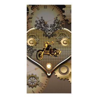 Steampunk, awesome motorcycle photo card template