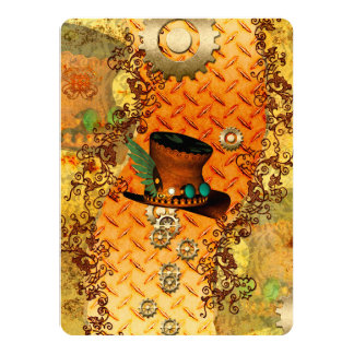 Steampunk, awesome steam hat card