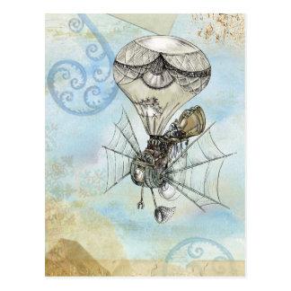 steampunk balloon postcard