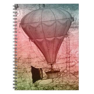 Steampunk balloon Sketch Hardcover Notebook
