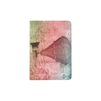 Steampunk Balloon Sketch Passport Holder