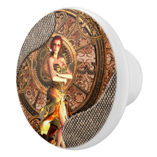 Steampunk, beautiful steam women ceramic knob