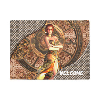 Steampunk, beautiful steam women doormat