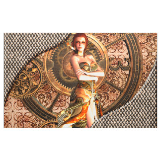 Steampunk, beautiful steam women fabric