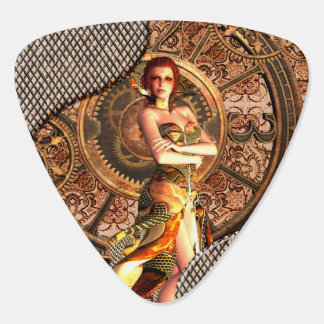 Steampunk, beautiful steam women guitar pick