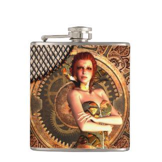 Steampunk, beautiful steam women hip flask
