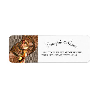 Steampunk, beautiful steam women return address label