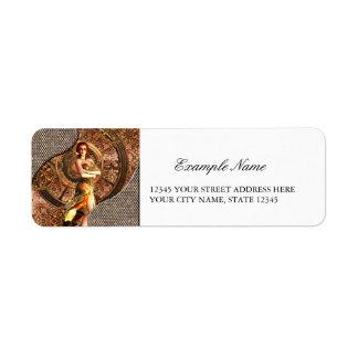 Steampunk, beautiful steam women return address label