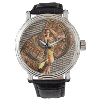 Steampunk, beautiful steam women watch