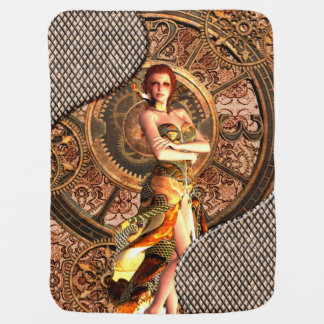 Steampunk, beautiful steam women with clocks baby blanket
