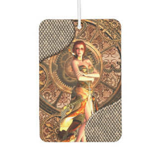 Steampunk, beautiful steam women with clocks car air freshener
