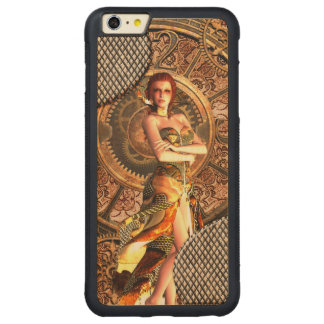 Steampunk, beautiful steam women with clocks carved maple iPhone 6 plus bumper case