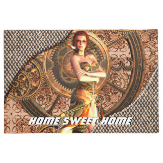 Steampunk, beautiful steam women with clocks doormat