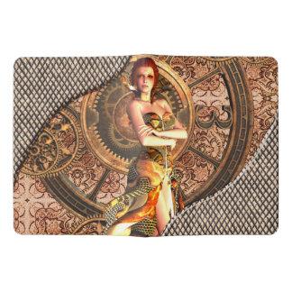 Steampunk, beautiful steam women with clocks extra large moleskine notebook