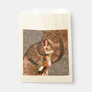 Steampunk, beautiful steam women with clocks favour bag