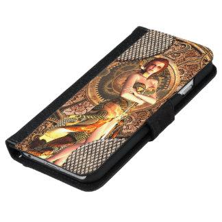 Steampunk, beautiful steam women with clocks iPhone 6 wallet case