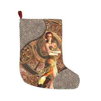 Steampunk, beautiful steam women with clocks large christmas stocking