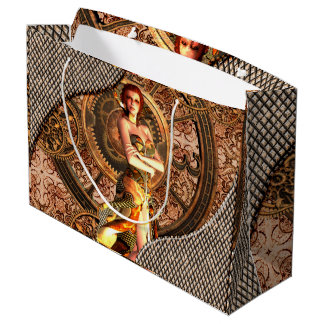 Steampunk, beautiful steam women with clocks large gift bag
