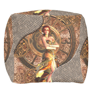 Steampunk, beautiful steam women with clocks pouf