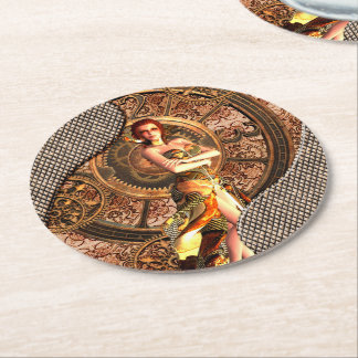 Steampunk, beautiful steam women with clocks round paper coaster