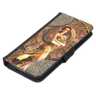 Steampunk, beautiful steam women with clocks samsung galaxy s5 wallet case
