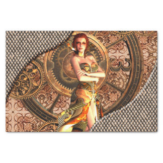 Steampunk, beautiful steam women with clocks tissue paper