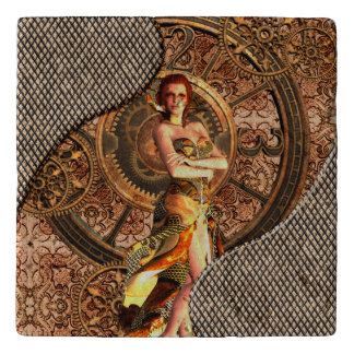 Steampunk, beautiful steam women with clocks trivet
