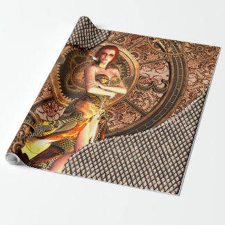 Steampunk, beautiful steam women with clocks wrapping paper